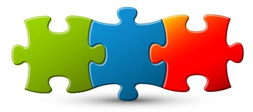 3 pièces de puzzle imbriquées
